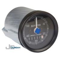 Horímetro Analógico Bi-Volt(12/24V) c/ LED   Aro Preto  Mostrador Numérico 52mm - TRH800.001