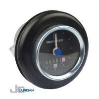Horímetro Analógico Bi-Volt(12/24V) c/ LED com Amortecedor  Aro Branco  Mostrador  c/ traço 60mm - TRH800.003