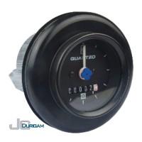 Horímetro Analógico Bi-Volt(12/24V) c/ LED  com Amortecedor   Aro Preto Mostrador  c/ traço 60mmTRH800.006