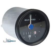 Horímetro Analógico Bi-Volt(12/24V) c/ LED  Aro Preto  Mostrador c/ traço 52mm -TRH800.007