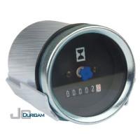 Horímetro Analógico Bi-Volt(12/24V) c/ LED  Aro Branco  Mostrador Liso 52mm - TRH800.002